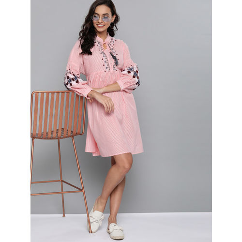 Mast & Harbour Women Pink & White Striped A-Line Dress