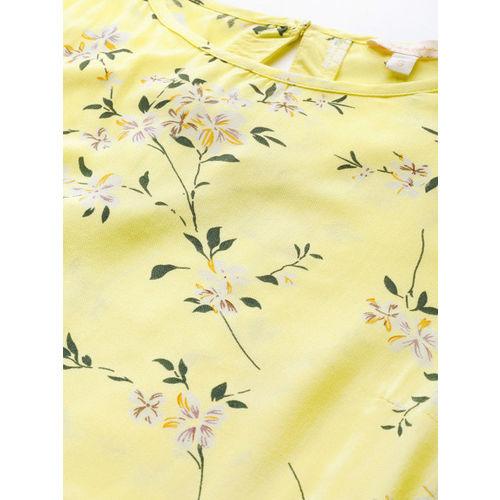 Mast & Harbour Women Yellow & Green Floral Print Maxi Dress
