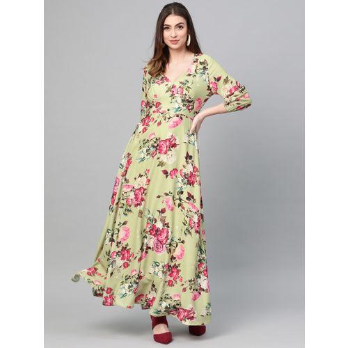 SASSAFRAS Women Green & Pink Printed Maxi Dress