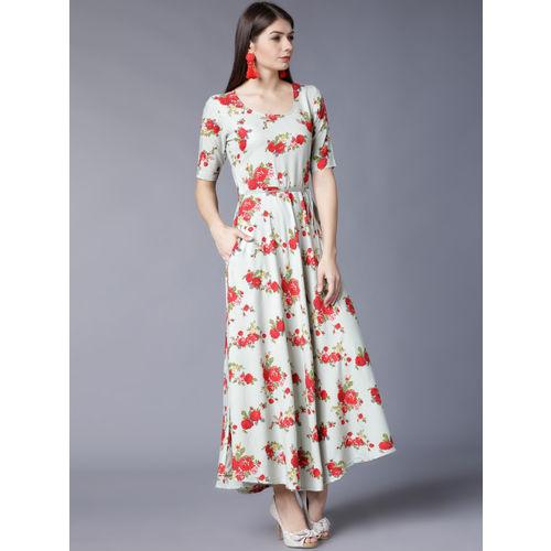 Vishudh Women Sea Green Printed Maxi Dress
