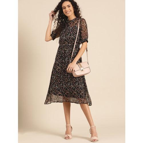 DressBerry Women Black & Peach-Coloured Printed A-Line Dress