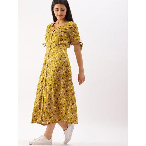 DressBerry Women Mustard Yellow Printed A-Line Dress