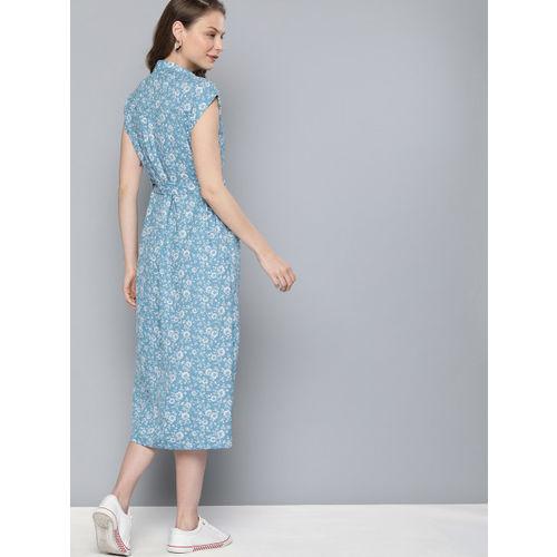Mast & Harbour Women Blue & White Floral Print Shirt Dress