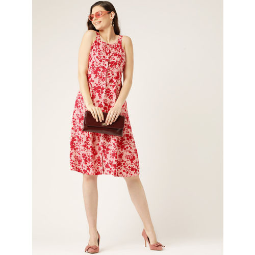 DressBerry Women Pink & Red Printed A-Line Dress
