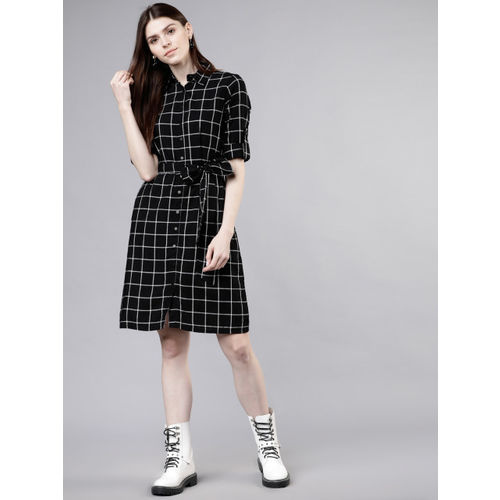 Tokyo Talkies Women Black & Off-White Checked Shirt Dress