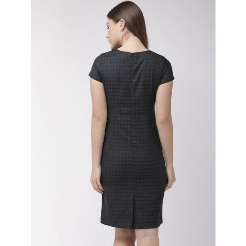 Park Avenue Women Black & Navy Blue Checked Sheath Dress