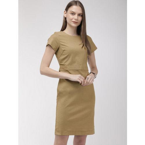 Park Avenue Business Women Khaki Solid Sheath Dress