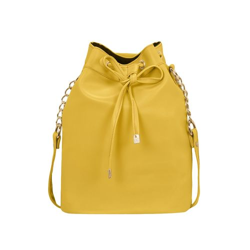 Kleio yellow leatherette (pu) regular sling bag