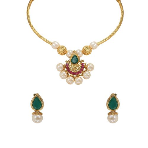 RAJKANYA green metal short necklace