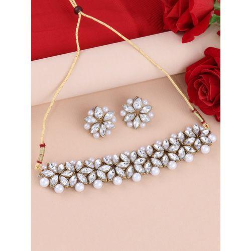 Silver Shine silver metal choker necklace