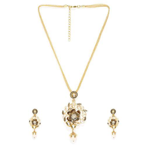 Panash gold metal long necklace