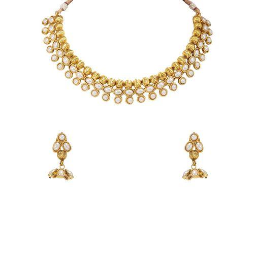 RAJKANYA gold metal short necklace