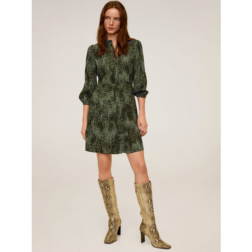 MANGO Women Green & Charcoal Grey Snake Skin Print Shirt Dress