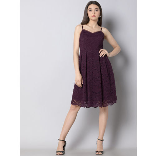 FabAlley Women Self Design Purple A-Line Dress