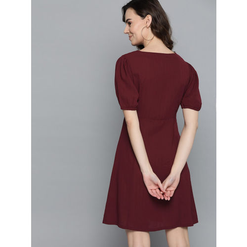 Mast & Harbour Women Maroon Solid A-Line Dress