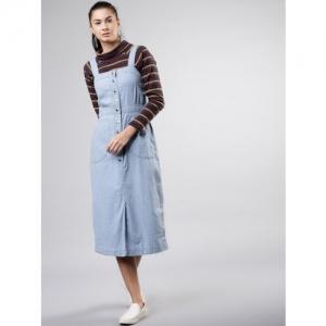 Tokyo Talkies Women Solid Blue Pinafore Dress