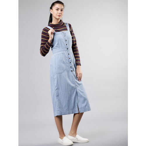 Tokyo Talkies Women Solid Blue Pinafore Dress