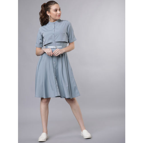 Tokyo Talkies Women Grey Solid Fit and Flare Dress
