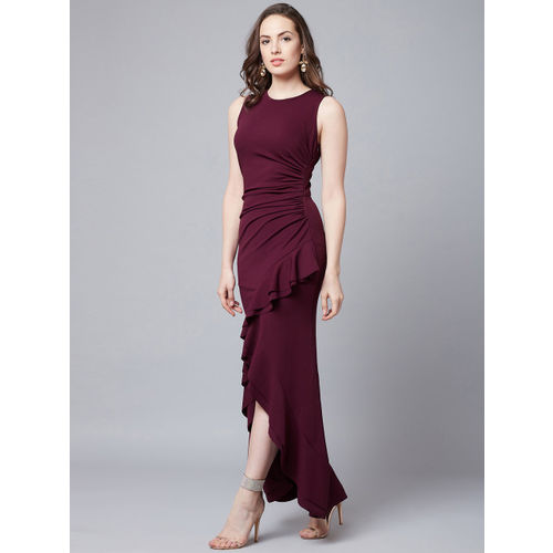 Athena Women Maroon Solid Maxi Dress
