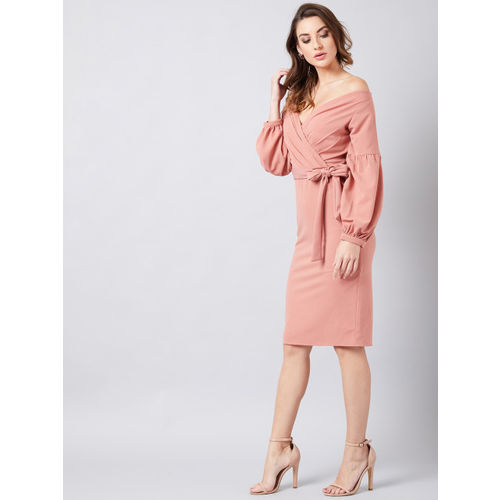 Athena Women Pink Solid Wrap Dress