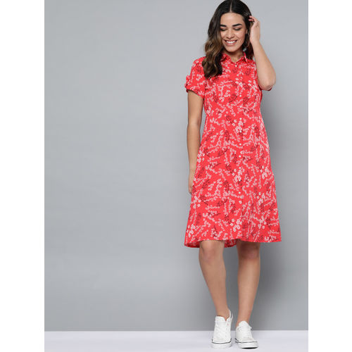 Mast & Harbour Women Red & White Floral Print Shirt Dress