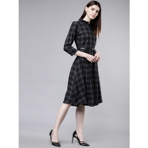 Tokyo Talkies Women Checked Grey Shirt Dress