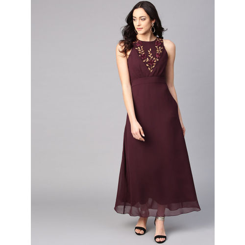 Athena Women Burgundy Solid Maxi Dress