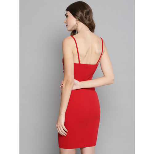 Veni Vidi Vici Women Red Solid Bodycon Dress