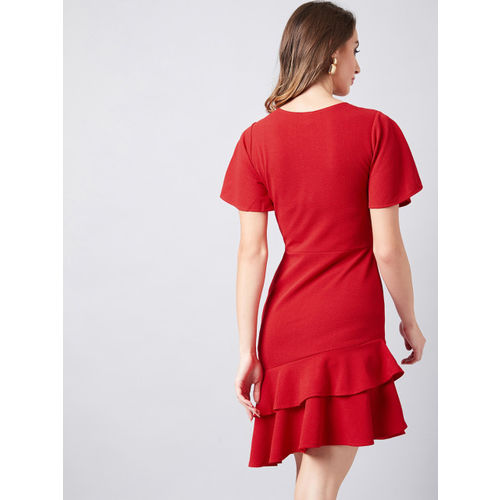 Athena Women Red Solid Sheath Dress