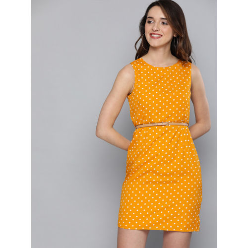 Mast & Harbour Mustard Yellow & Off-White Polka Dot Print Sheath Dress