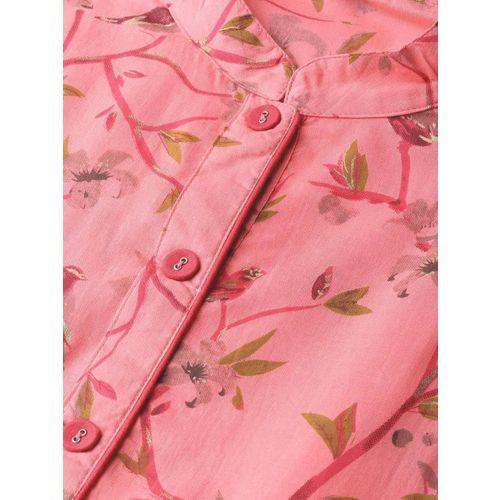 Nayo Women Pink & Olive Green Printed Maxi Dress