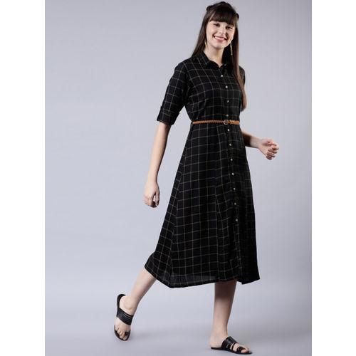 Vishudh Women Black & White Checked Shirt Dress With Belt