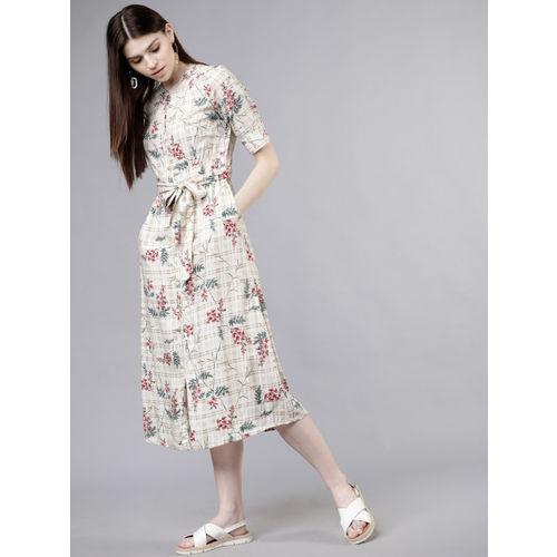 Tokyo Talkies Women Cream-Coloured Floral Printed Shirt Dress