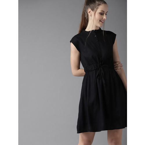 HERE&NOW Women Black Solid Fit and Flare Dress