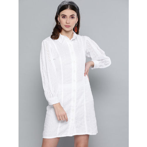 SASSAFRAS Women White Schiffli Embroidered Shirt Dress