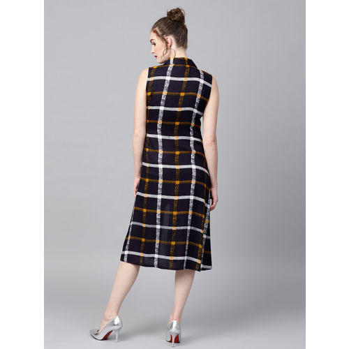 SASSAFRAS Women Navy Blue Checked Midi Wrap Dress