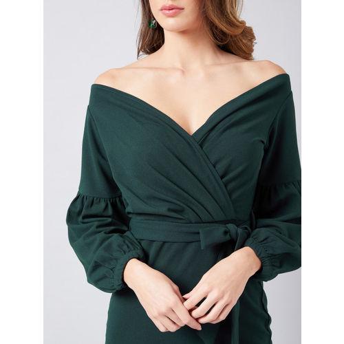 Athena Women Green Solid Wrap Dress