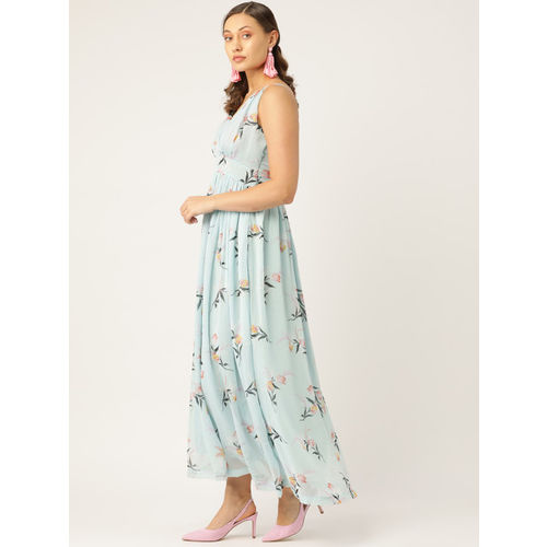 Trend Arrest Women Blue & Pink Printed Maxi Dress