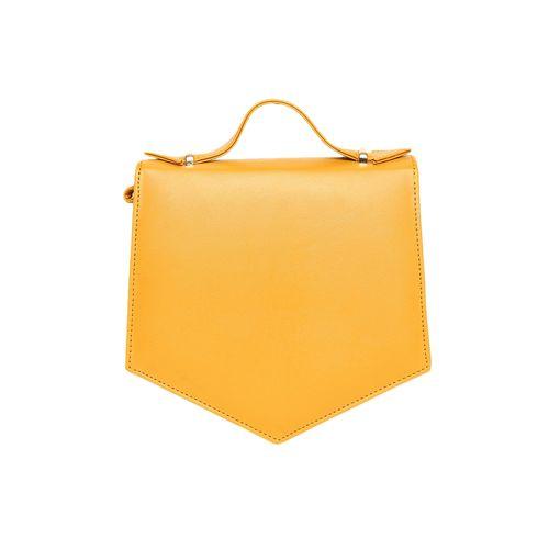 Kleio yellow leatherette regular sling bag