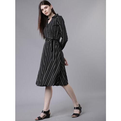 Tokyo Talkies Women Black Striped Fit and Flare Dress