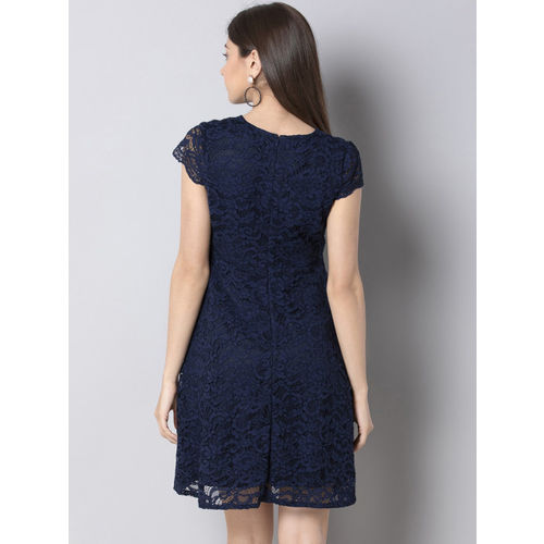 FabAlley Women Self Design Navy Blue Fit and Flare Dress