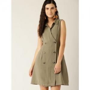 MANGO Women Olive Green Solid Wrap Dress