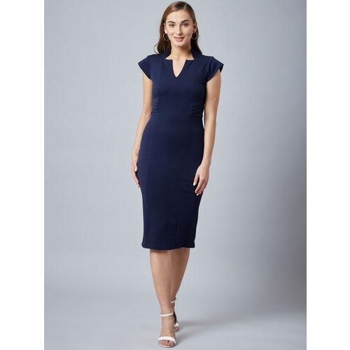 Athena Women Navy Blue Solid Sheath Dress