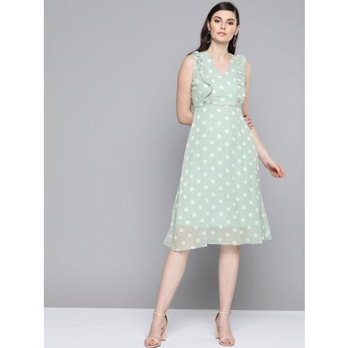 SASSAFRAS Green & Off-White Polka Dots Print Fit and Flare Dress