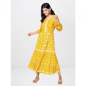 Global Desi Women Mustard Yellow & Off-White Printed Ruffle Detail Fit and Flare Dress
