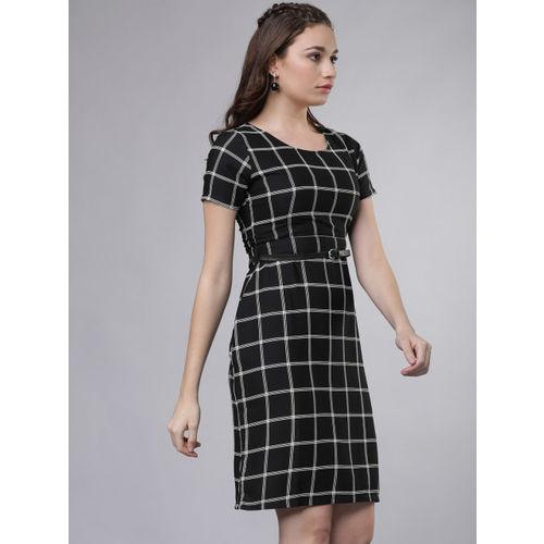 Tokyo Talkies Women Black & White Checked Sheath Dress