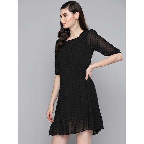 SASSAFRAS Women Black Self Design Dobby Weave A-Line Dress