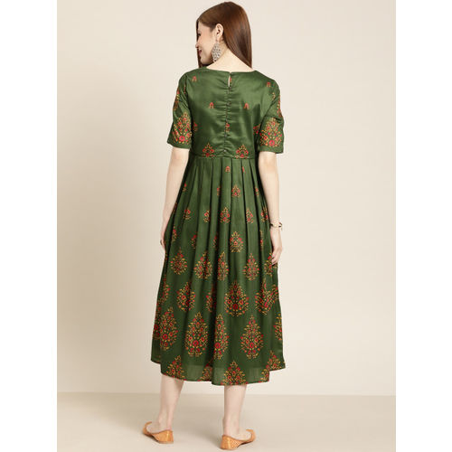 all about you Women Green Printed Fit and Flare Dress