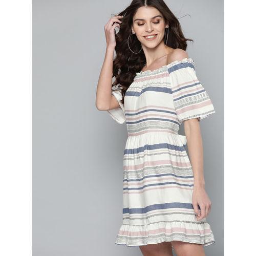 Mast & Harbour Women Off-White & Blue Striped A-Line Dress