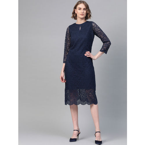 Athena Women Navy Blue Lace Sheath Dress